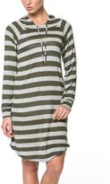 Celeste Olive Stripe Hooded Dress