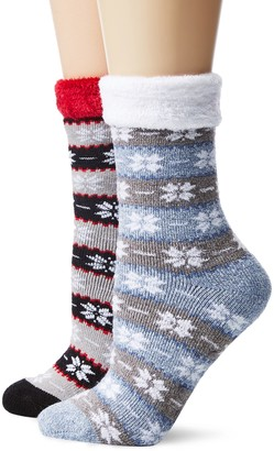 DAVCO 9-11 Women's Cozy Slipper Socks 2 Pack Set
