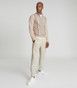 Reiss Mosel - Zip Neck Stripe Jumper in Oatmeal