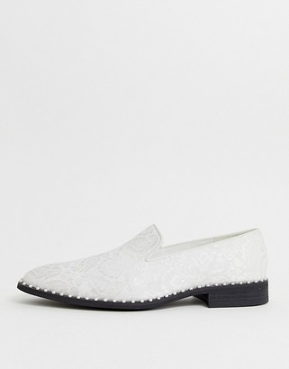 ASOS EDITION loafers in white jacquard