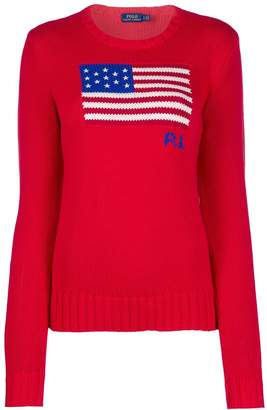 Polo Ralph Lauren logo flag embroidered sweater