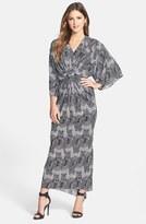 T-Bags Tbags Los Angeles Print Double-V Kimono Maxi Dress
