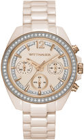 Wittnauer Womens Crystal-Accent Light Pink Ceramic Strap Bracelet Watch WN4072