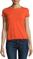 Neiman Marcus Cashmere Short-Sleeve Pullover Top, Orange