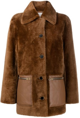 Sandro Buttoned-Up Shearling Coat