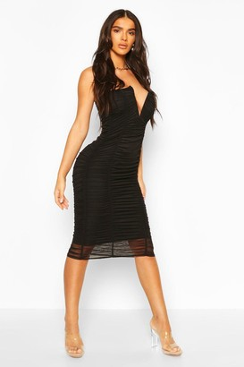 boohoo Bandeau V Bar Mesh Midi Bodycon Dress