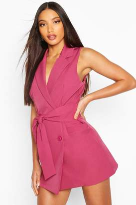 boohoo Longline Self Belt Sleeveless Blazer