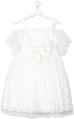 Colorichiari Floral-Applique Cold-Shoulder Dress