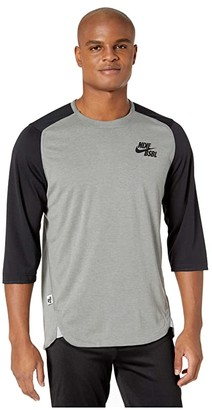 Nike 3/4 Flux Top (Team Black/Dark Grey Heather/Black) Men's Clothing