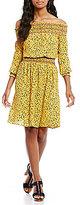MICHAEL Michael Kors Floral Print Textured Crepe Off-The-Shoulder Smocked Dress