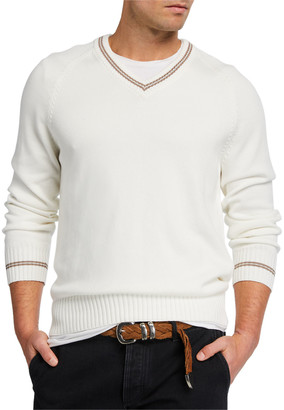 Brunello Cucinelli Men's V-Neck Sweater with Contrast Tipping