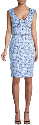 Oscar de la Renta Printed Cotton Sheath Dress