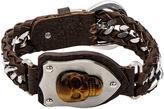 JCPenney FINE JEWELRY Mens Tiger's Eye Skull Braided Leather Bracelet