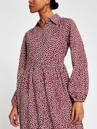 River Island Polka Dot Tiered Smock Shirt Dress - Burgundy