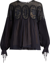 Chloé Medallion-lace long-sleeved blouse
