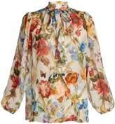 Dolce & Gabbana Floral-print tie-neck blouse