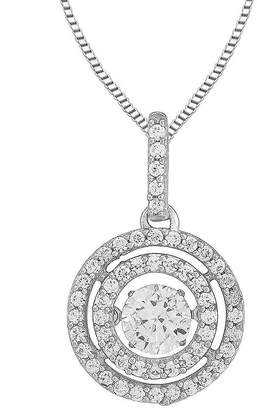 FINE JEWELRY Love in Motion Round Lab-Created White Sapphire Double-Halo Pendant Necklace