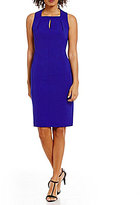 Calvin Klein Keyhole Neck Crepe Solid Scuba Sheath Dress