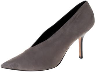 Celine Grey Nubuck Leather V Neck Pointed Toe Pumps Size 38.5