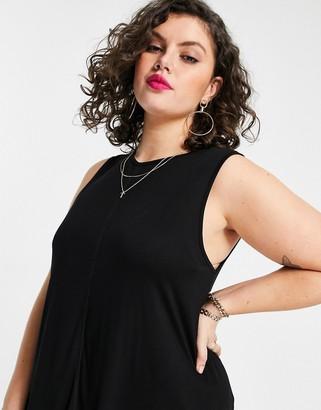 ASOS DESIGN Curve oversized longline swing vest in black