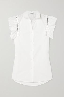 Miu Miu Embroidered Ruffled Cotton-poplin Blouse - White