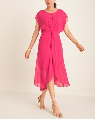 Adrianna Papell Pink Chiffon High-Low Midi Dress