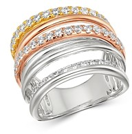 Bloomingdale's Diamond Crossover Ring in 14K White, Yellow & Rose Gold, 1.30 ct. t.w. - 100% Exclusive