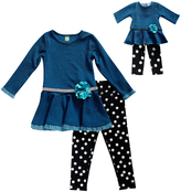 Dollie & Me Teal Ruffle Tunic Set & Doll Outfit - Girls