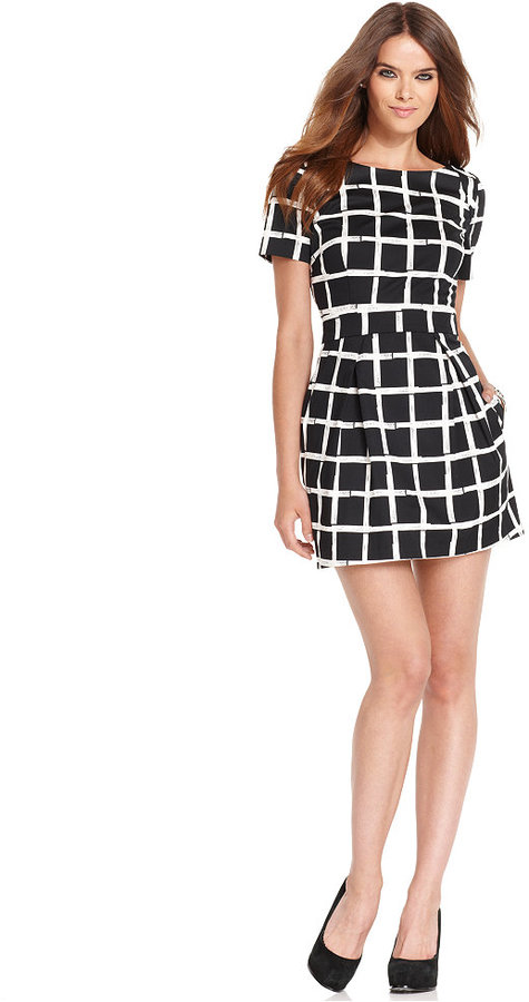French Connection Dress, Short-Sleeve High-Neck Plaid A-Line