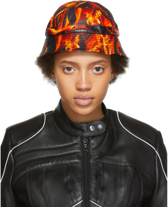 Marine Serre SSENSE Exclusive Black and Orange Leather Fire Bucket Hat