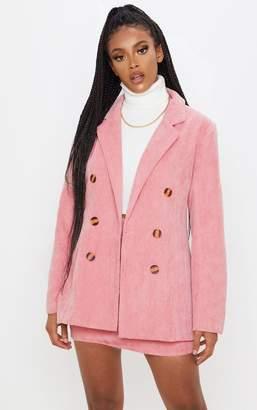 PrettyLittleThing Pink Cord Oversized Boyfriend Blazer