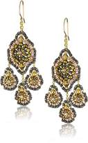Miguel Ases Bronze Rondelle and Gold Beaded Drop Earrings