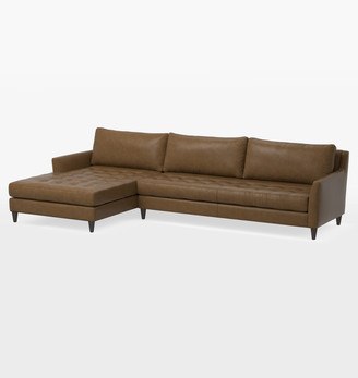 Rejuvenation Hastings Studio Sectional Leather Sofa - Left Chaise