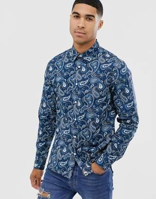 Pretty Green slim fit paisley print shirt in blue