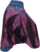 KorMei Women's Ethnic Printed Yoga Aladdin 2 in 1 Hippie Harem Jumpersuit Pants