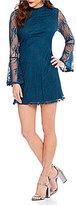 Xtraordinary Lace Illusion Bell-Sleeve Mock Neck Trapeze Dress