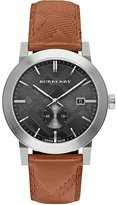 Burberry 42mm Stainless Steel & Leather City Watch, Beige