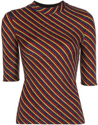 Rosetta Getty Diagonal-Stripes Slim Top