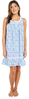 Eileen West Cotton Lawn Woven Sleeveless Short Chemise (Deep Blue Ground Floral) Women's Pajama