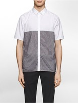 Calvin Klein Platinum Regular Fit Mesh Overlay Short-Sleeve Shirt