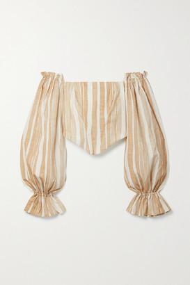 Cult Gaia Nikole Off-the-shoulder Striped Cotton And Silk-blend Top - Beige