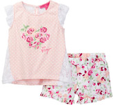 Betsey Johnson Polka Dot Top & Floral Ruffle Short Set (Little Girls)