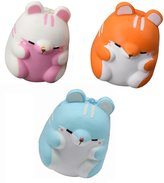3Pcs Kids Toy Release Stress Hamster Squishy Slow Rising Decompression Doll for Girls Boys Adults by HaiHui