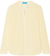 MiH Jeans Evelyn Floral-print Silk Crepe De Chine Shirt - Marigold