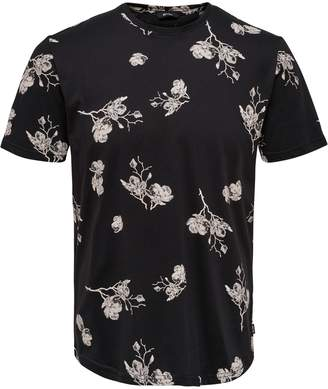 ONLY & SONS Floral-Print Cotton Tee