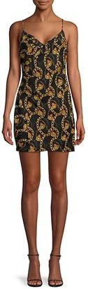 ASTR the Label Chainlink-Print Mini Slip Dress