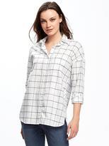 Old Navy Plaid Slub-Weave Boyfriend Shirt for Women