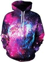 Imilan Womens 3D Cosmic Galaxy Pullover Hooded Sweatshirt