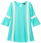 My Michelle mymichelle Bell Sleeve Dress with Crochet Trim Detail (Big Girls)