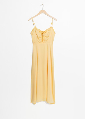 And other stories Ruffled Lace Up Midi Sundress